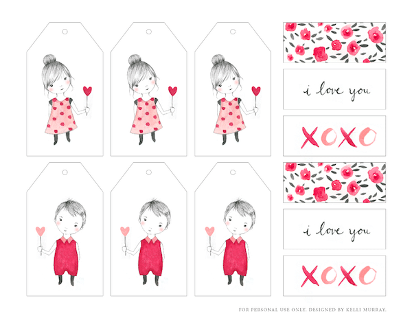 Pretty Valentines Day Printable Tags - Kelli Murray