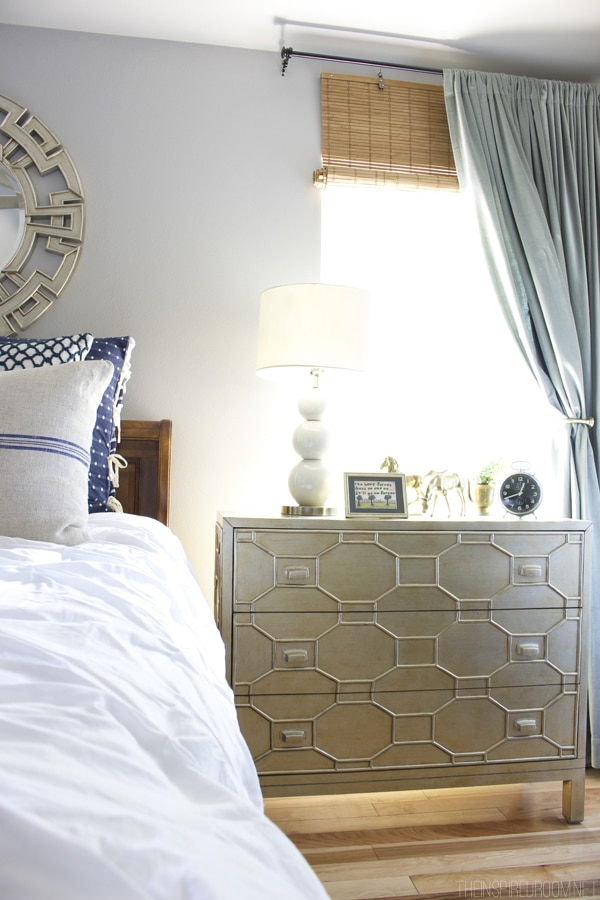 White Navy and Gold Bedroom Decorating - The Inspired Room