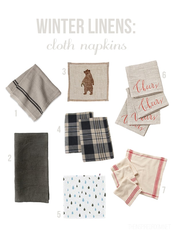 Winter Linens - Cloth Napkins - The Inspired Room