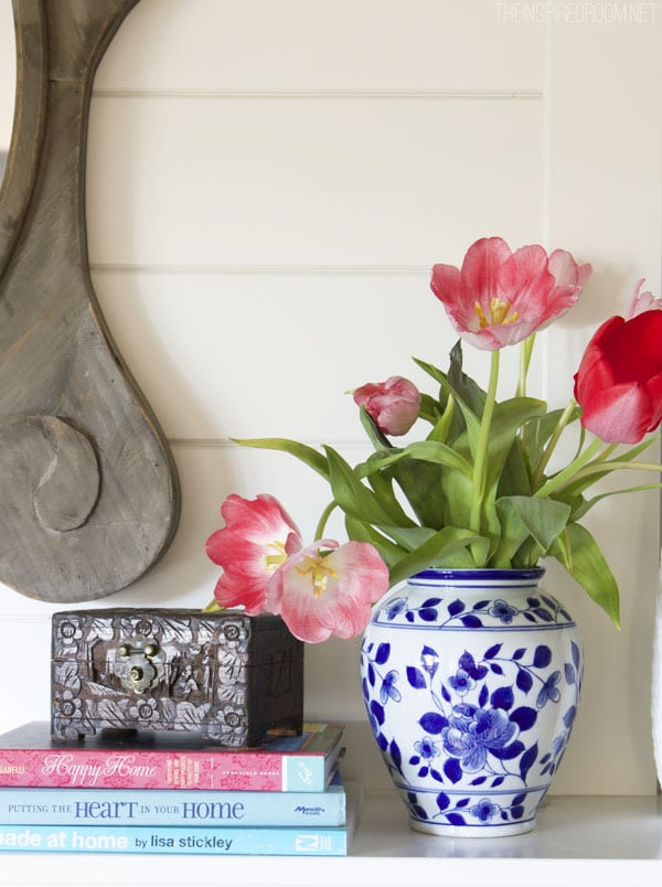Blue and white vase - pretty coral tulips - The Inspired Room