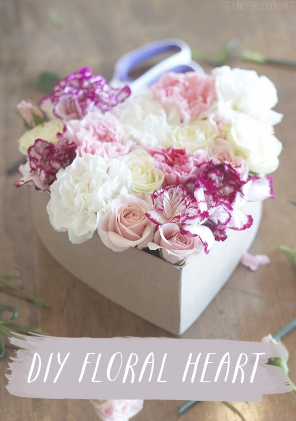 DIY Floral Heart - Valentines Gift Idea at The Inspired Room