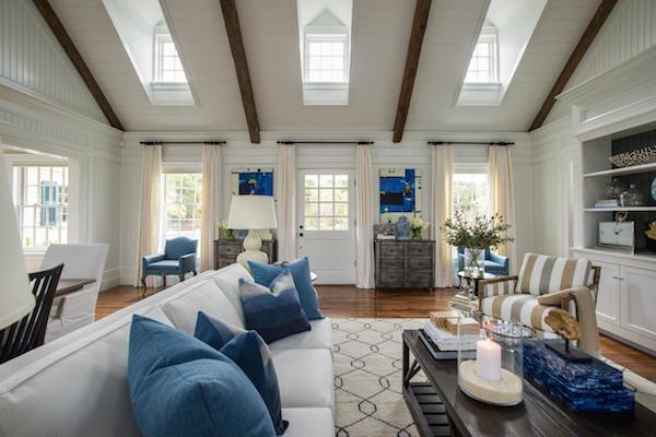 HGTV Dream Home 2015 Great Room Design - Neutral with Pops of Blue