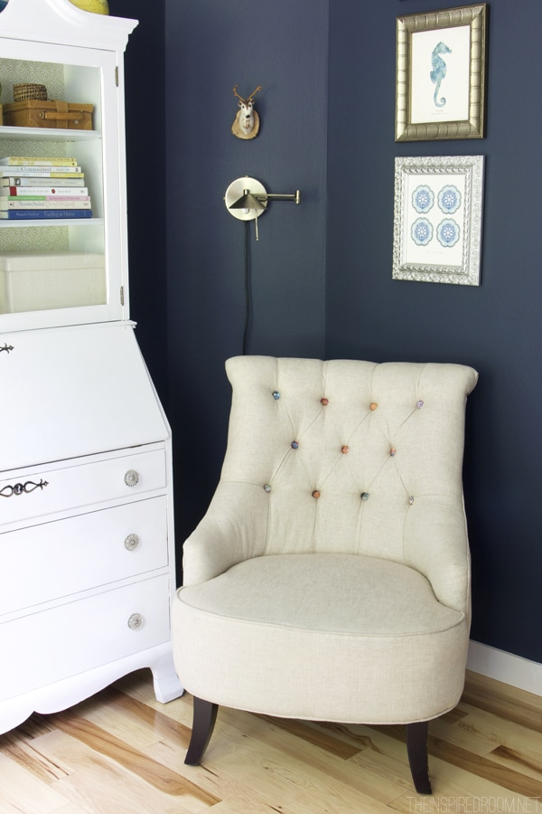 Navy Blue Office - Linen Tufted Chair - The Inspired Room