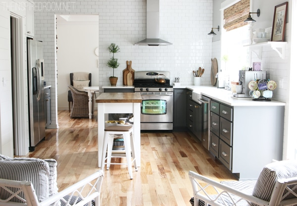 The Inspired Room Kitchen - Subway Tile and Gray Cabinets