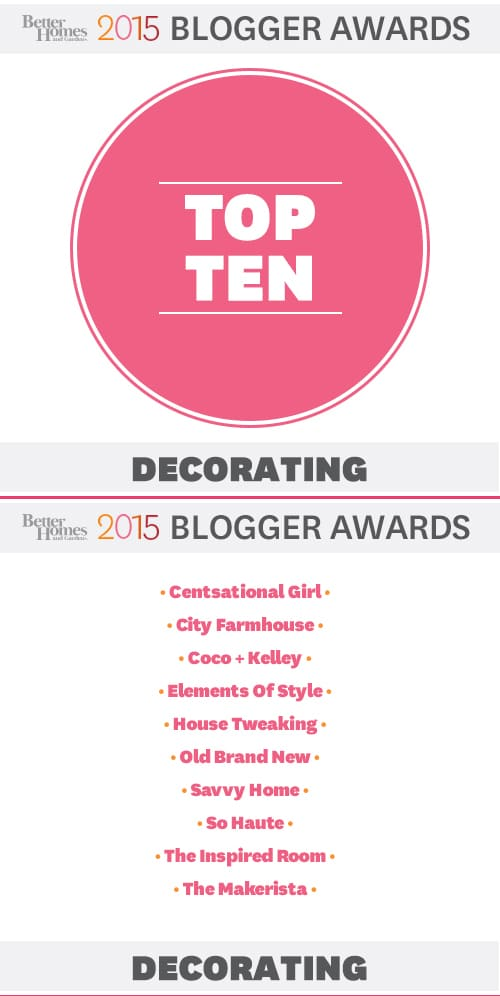 Top Ten Best Decorating Blogs - Better Homes and Gardens Blogger Awards