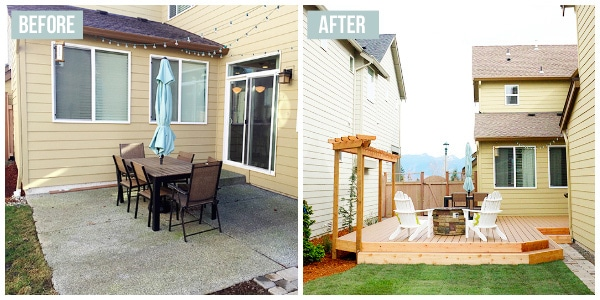 Before and After - Small Backyard Renovation with a New Deck