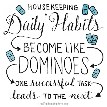 Daily Habits from the book Love the Home You Have – The Inspired Room – lovethehomeyouhave.com #lovethehomeyouhave