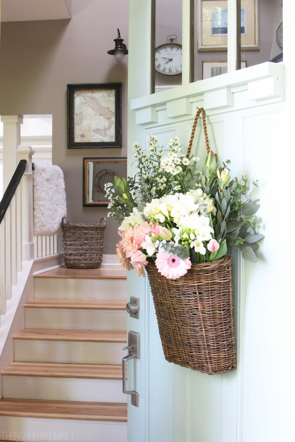 Fresh Cut Spring Flowers In A Door Basket