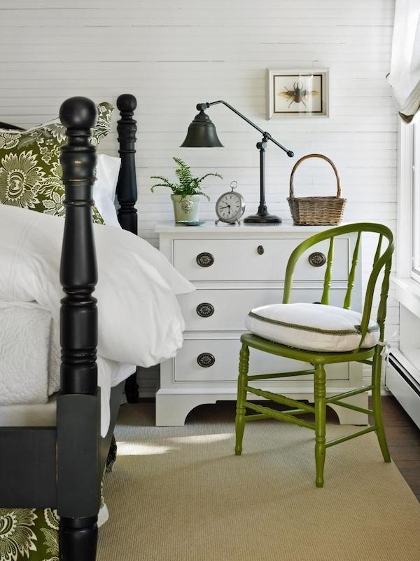 Black white green bedroom - Tom Stringer