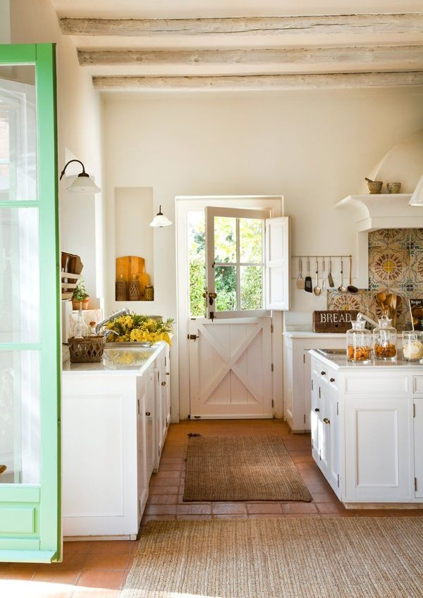 Farmhouse Country Kitchen - White with Green Door
