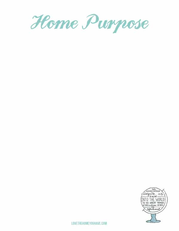 Home Goals and Home Purpose {printable worksheets}