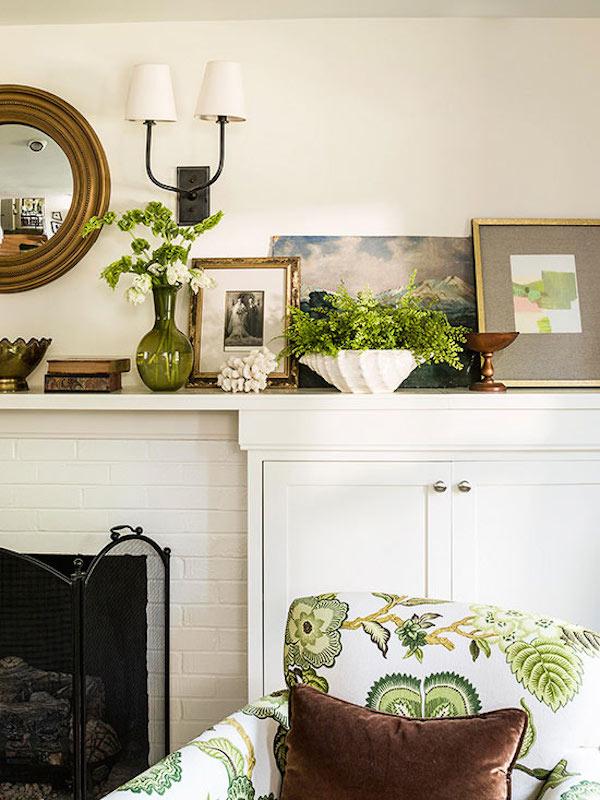 Spring Living Room - Green and White