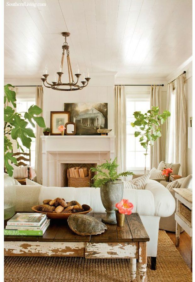 White Living Room - Pops of Green