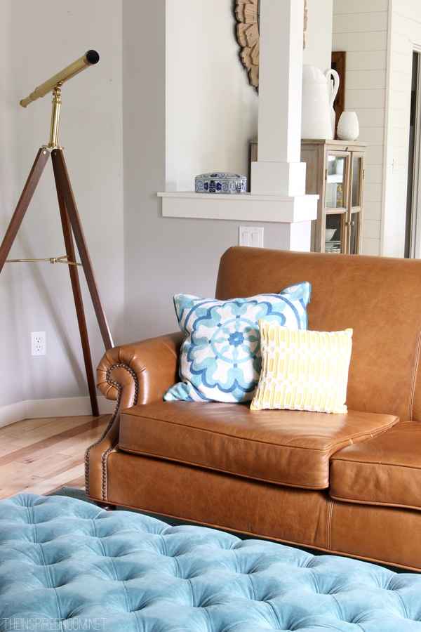 Summer House Tour - The Inspired Room Blog - Leather Sofa