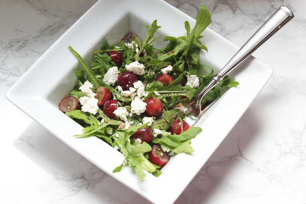 Arugula grape and goat cheese salad