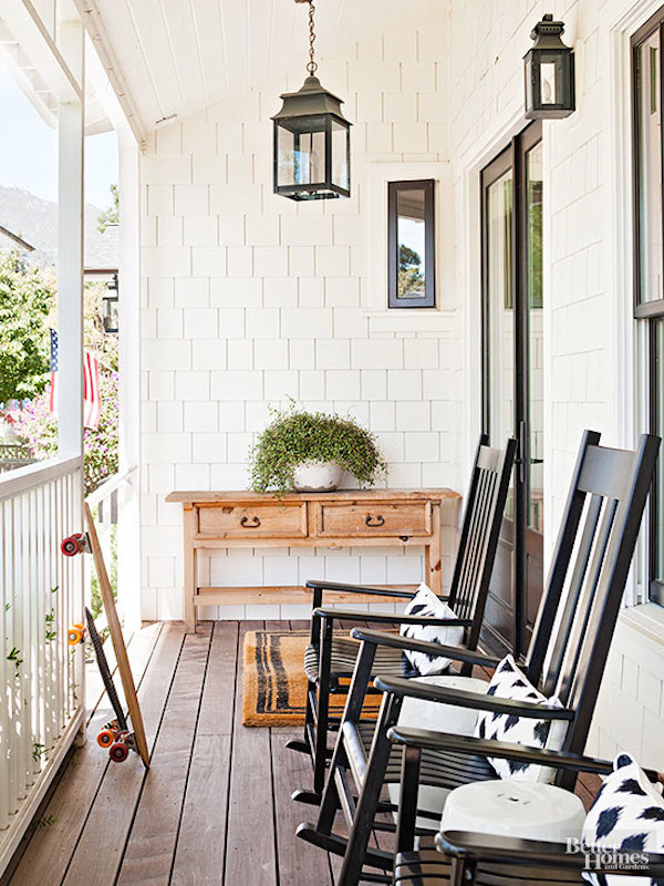 Front Porch Design - White Shingles and Black Lanterns