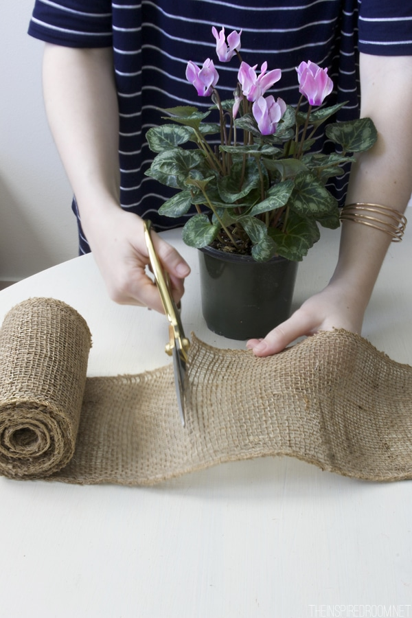 Simple DIY Burlap Flower Pot - The Inspired Room blog