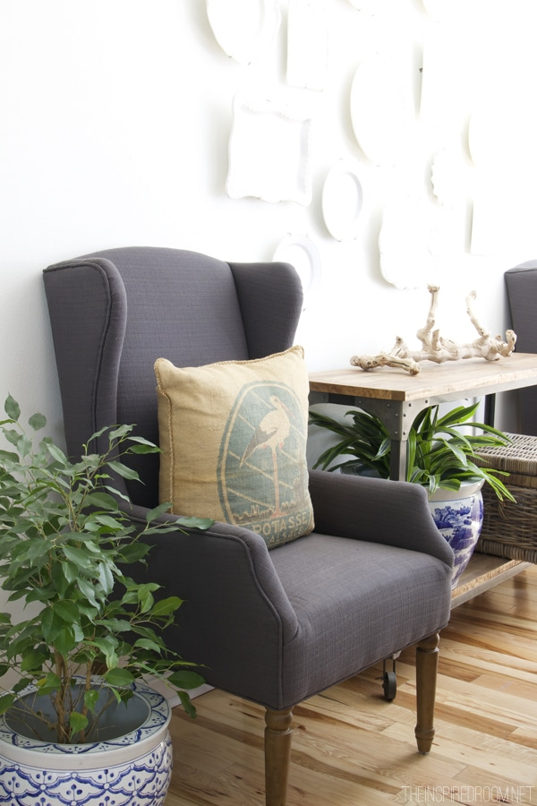 The Inspired Room Dining Room - Gray Wingback Chair