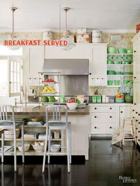 White Farmhouse Kitchen with Jadeite Dishes