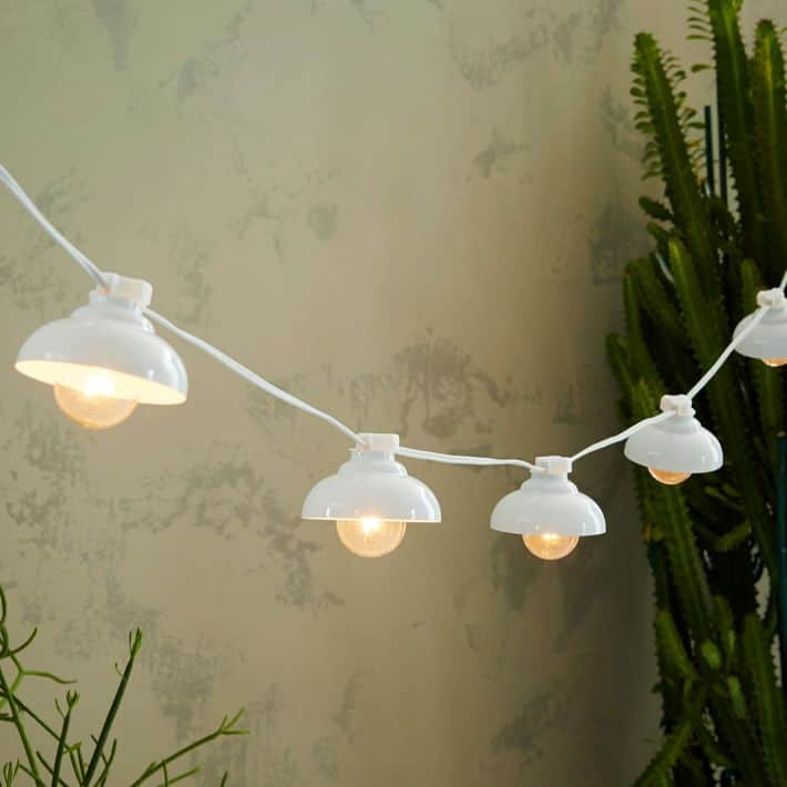 White Industrial Outdoor String Lights -Round Up