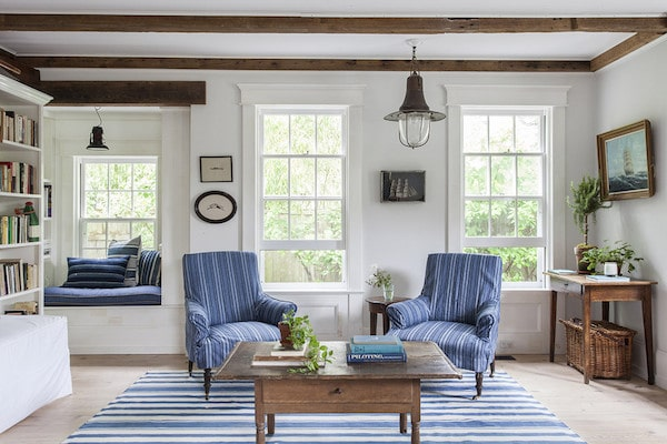 Blue and White Living Room - Nautical Lighting