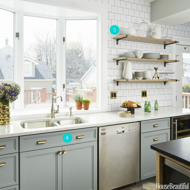 Gray White Wood and Brass Kitchen - Open Shelves