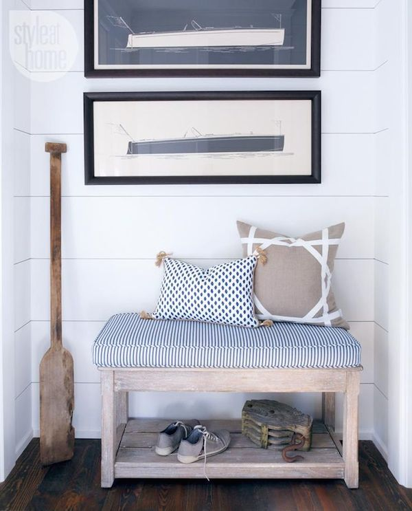 Modern Nautical Style Bench - Light and Airy Summer Style