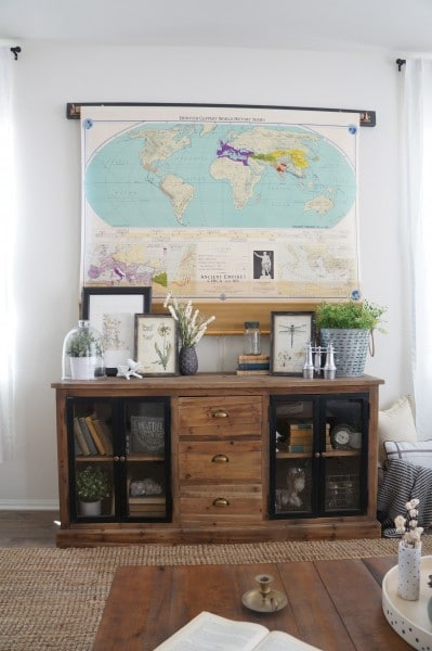 Roll Up Map to Cover Flat Screen