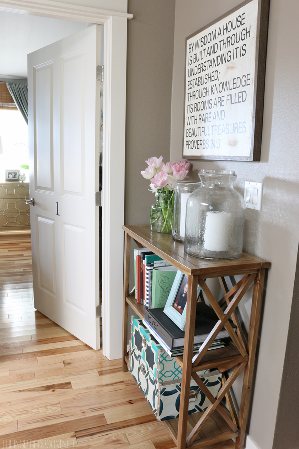 Small spaces my upstairs hallway bookshelf the inspired room - Small space decorating blog decor ...