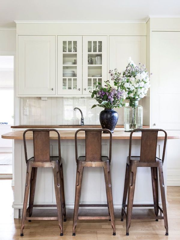 White Kitchen with Copper Barstools - Summer Cottage in Sweden