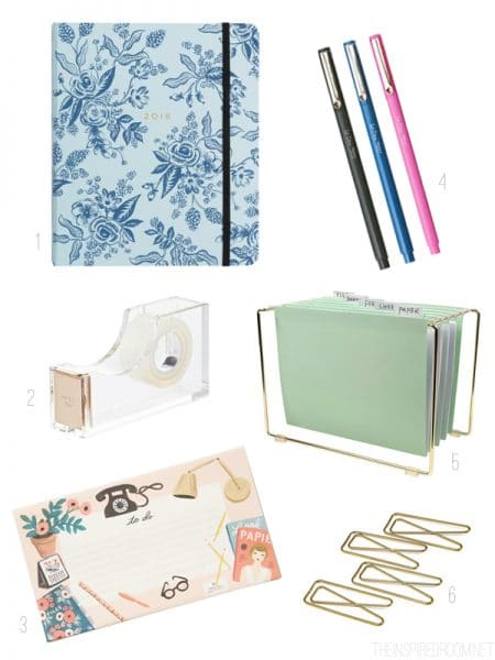 Pretty Desk Accessories - Back to School - The Inspired Room