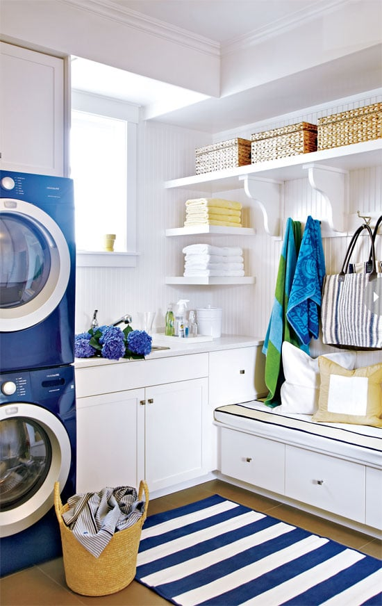 Pretty Laundry Room - Blue Washer and Dryer