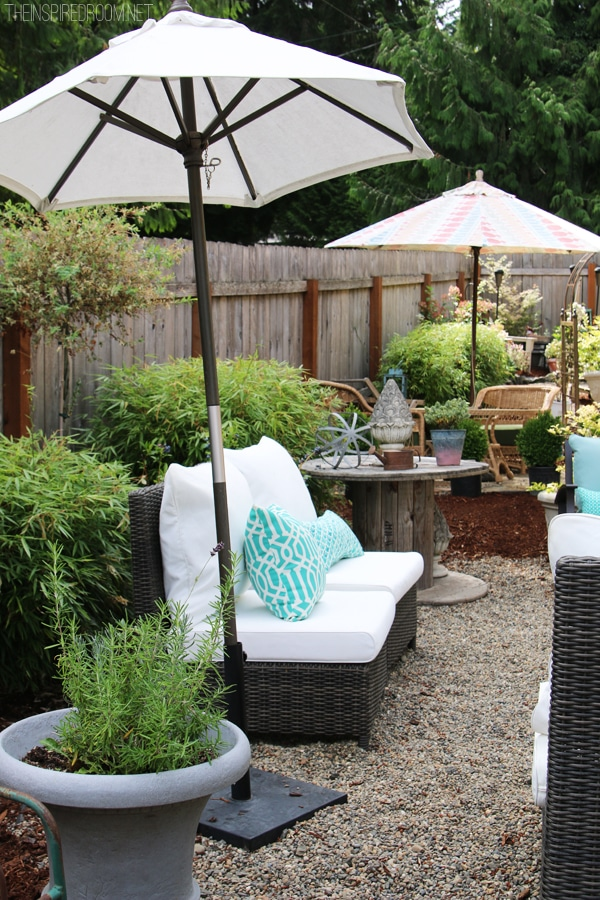 My Backyard Tour {Pea Gravel Patios, Flagstone U0026 Secret Garden}