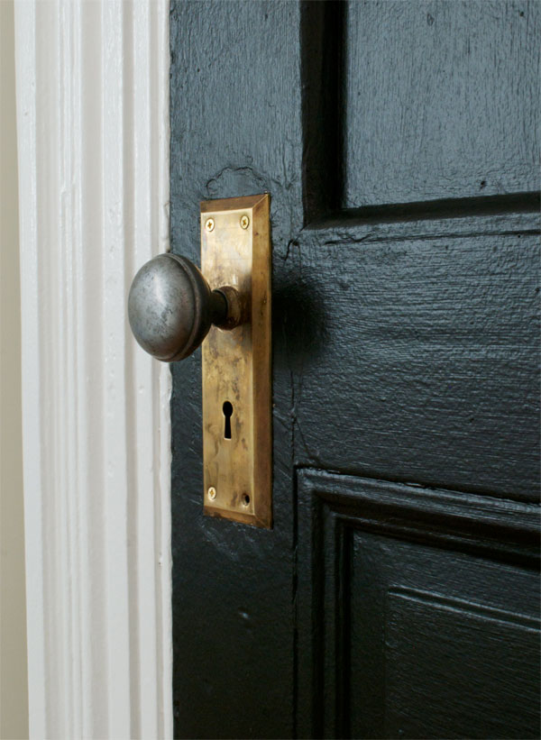 Black Door - Brass Doorknob - Manhattan Nest