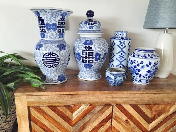 Blue and white vases / The Inspired Room blog