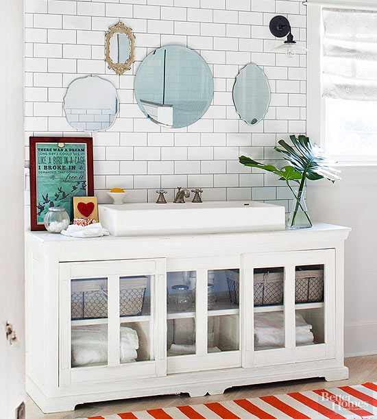 inspiration} repurpose furniture into bathroom vanity - the