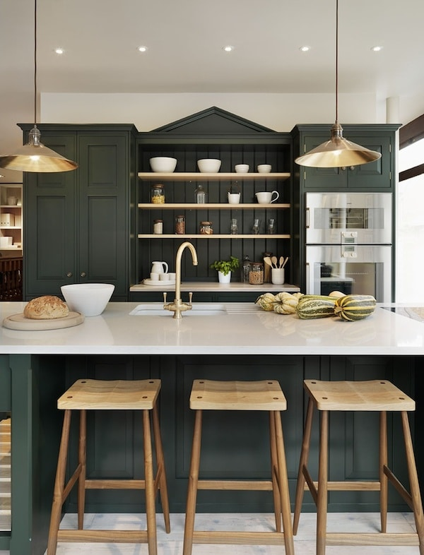 Dark Green Kitchen Cabinets - Brass Accents - Teddy Edwards