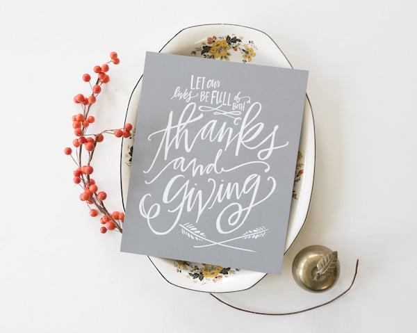 Thanks and GIving Art Print - Lindsay Letters