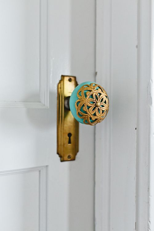 Turquoise and Gold Doorknob