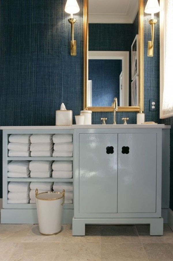 Dark Blue Grasscloth Bathroom