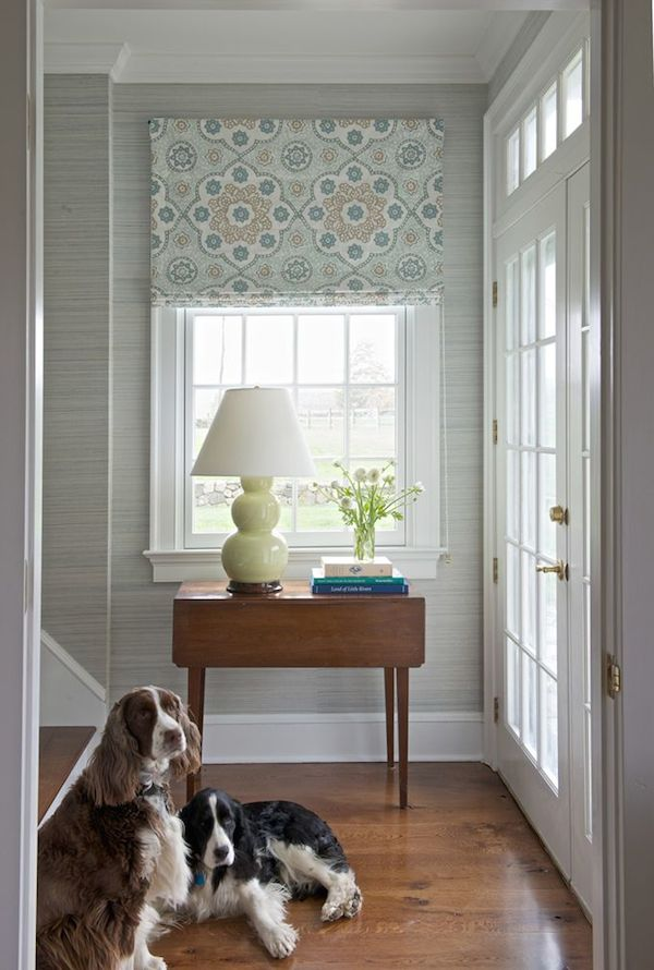 Blue Gray Grasscloth Entryway