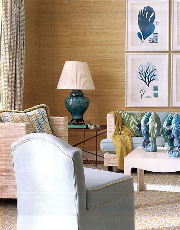 Grasscloth Living Room - Meg Braff