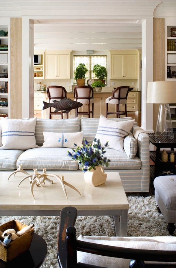 Neutral Living Room Decorating with Subtle Striped Sofa - Burnham Design