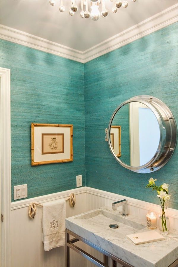 Turquoise Grasscloth Bathroom - Brittney Nielsen Interior Design