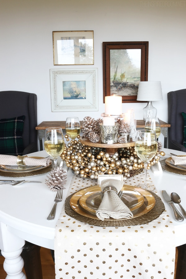 Cozy Glam Holiday Tablescape - Silver and Gold - The Inspired Room