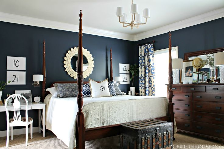 Dark Navy Walls in the Bedroom - Our Fifth House