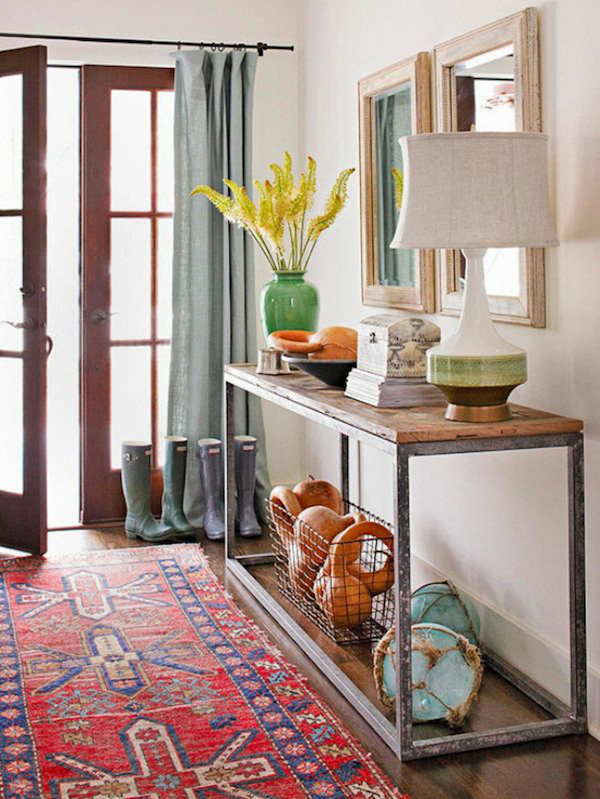 Foyer Rug : Lamps in the entry inspired room