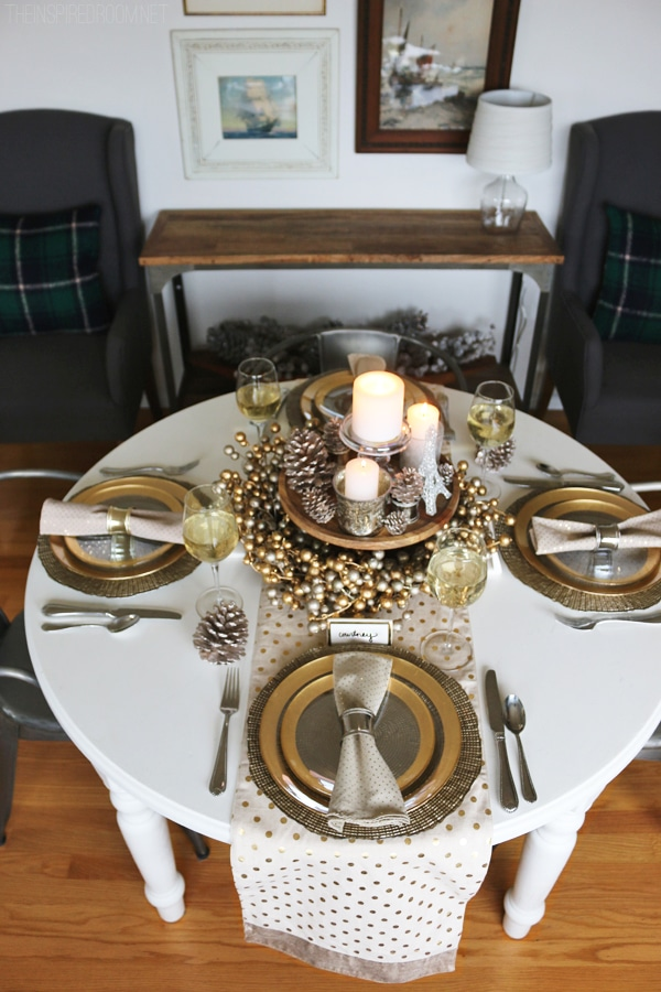 Holiday Cozy Glam Tablescape - The Inspired Room blog