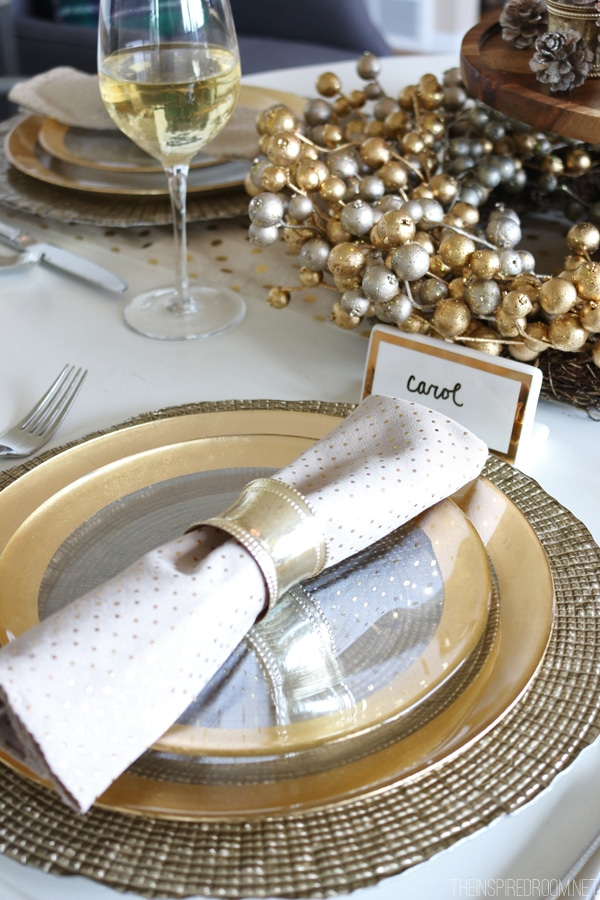 Place Setting - Cozy Glam Holiday Tablescape by The Inspired Room