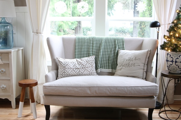 The Inspired Room Christmas Decorating - Linen Settee